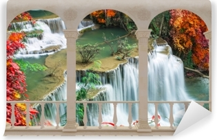 Terrace - Waterfall in tropical forest Vinyl Wall Mural
