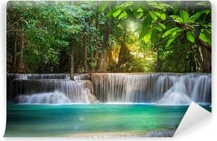 Thailand waterfall in Kanchanaburi (Huay Mae Kamin) Vinyl Wall Mural
