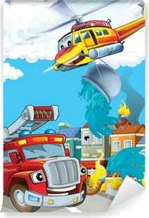 The car and the flying machine Vinyl Wall Mural
