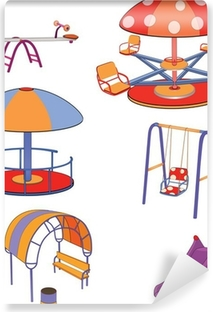 The complete set a children's swing. Cartoon Vinyl Wall Mural