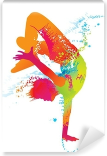 The dancing boy with colorful spots and splashes. Vector Vinyl Wall Mural