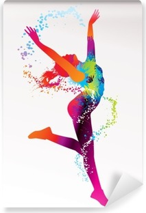 The dancing girl with colorful spots and splashes on a light bac Vinyl Wall Mural