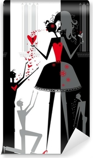 The play about love in the shadow theater. Vinyl Wall Mural