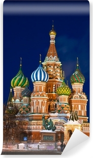 The Saint Basil's cathedral at night, Moscow Vinyl Wall Mural