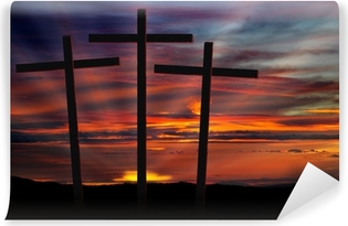 three crosses at sunset Vinyl Wall Mural