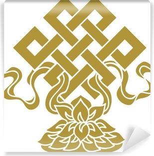 Tibetanischer Endlos Knoten, Lotus Schale - Glückssymbol Vinyl Wall Mural