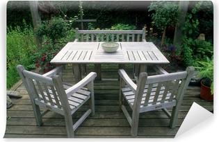 Tisch, Sitzbank Und Stühle Aus Teak Holz Im Garten Self Adhesive Wall Mural