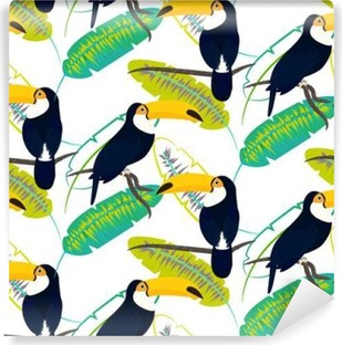 Toco toucan bird on banana leaves seamless vector pattern on white background. Tropical jungle leaf and exotic bird sitting on branch. Vinyl Wall Mural