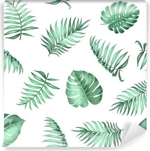 Topical palm leaves on seamless pattern for fabric texture. Vector illustration. Vinyl Wall Mural