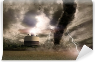 Tornado with lightning over a meteo station Vinyl Wall Mural