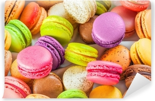 traditional french colorful macarons in a box Vinyl Wall Mural