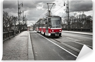 tram in the city of Prague Vinyl Wall Mural