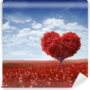 Tree in the shape of heart, valentines day background, Vinyl Wall Mural