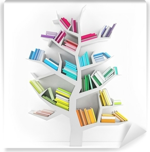 Tree of Knowledge, White Shelf with Multicolor Books Isolated Vinyl Wall Mural