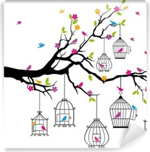 tree with birds and birdcages, vector Vinyl Wall Mural
