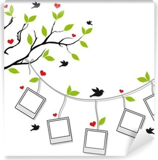 tree with photo frames and birds, vector Vinyl Wall Mural