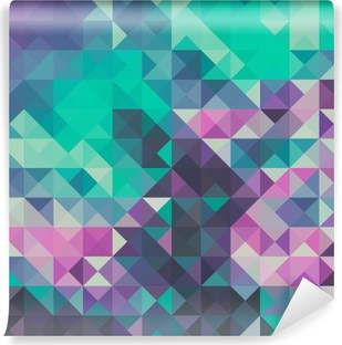 Triangle background, green and violet Vinyl Wall Mural