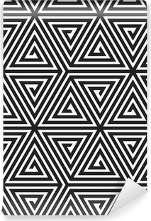 Triangles, Black and White Abstract Seamless Geometric Pattern, Vinyl Wall Mural