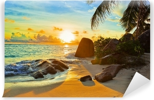Tropical beach at sunset Vinyl Wall Mural