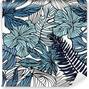 Tropical exotic flowers and plants with green leaves of palm. Vinyl Wall Mural