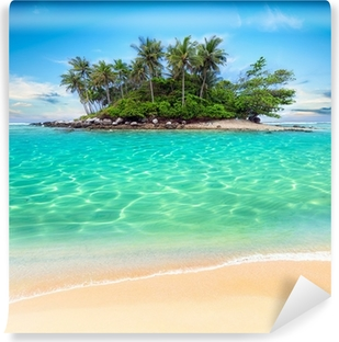 Tropical island and sand beach exotic travel background Vinyl Wall Mural