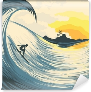 Tropical island wave and surfer Vinyl Wall Mural