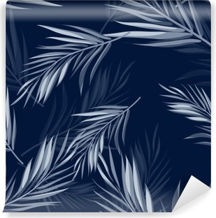 Tropical seamless monochrome blue indigo camouflage background with leaves and flowers Vinyl Wall Mural