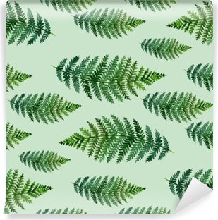 Tropical watercolor abstract pattern with fern leaves Vinyl Wall Mural