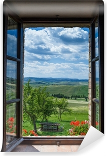 Tuscany landscape from window Vinyl Wall Mural