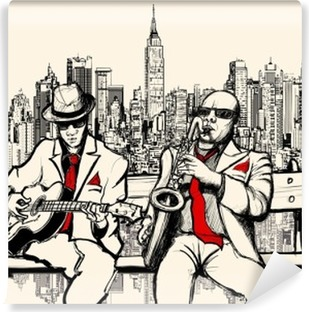two jazz men playing in New York Vinyl Wall Mural