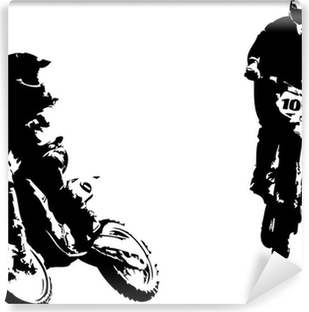 two motocross riders Vinyl Wall Mural