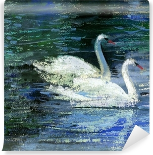 Two swans Vinyl Wall Mural