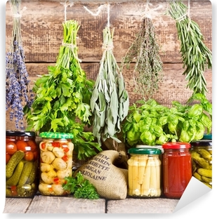 various fresh herbs and canned food Vinyl Wall Mural