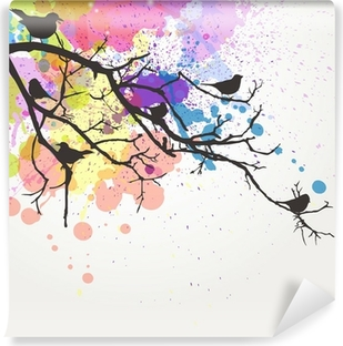 Vector Branch with birds on an abstract background Vinyl Wall Mural