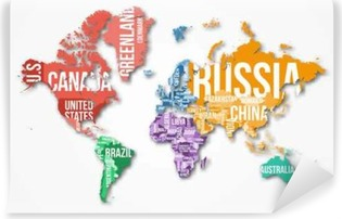 Infographic wall murals pixers vector detailed world map with borders and country names education business and travel infographic gumiabroncs Images