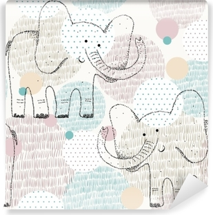 Vector drawn seamless geometric pattern with elephant Vinyl Wall Mural