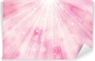 Vector glitter pink background with rays of lights and stars. Vinyl Wall Mural