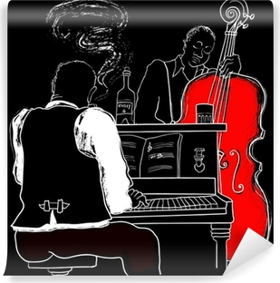 Vector illustration of a Jazz piano and double-bass Vinyl Wall Mural