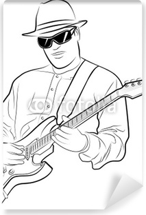 Vector Illustration Of A Man Playing Electrical Guitar Vinyl Wall Mural