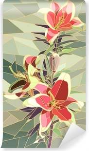 Vector illustration of flowers pink lily. Vinyl Wall Mural