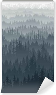 vector mountains forest with fog background texture seamless pattern Vinyl Wall Mural