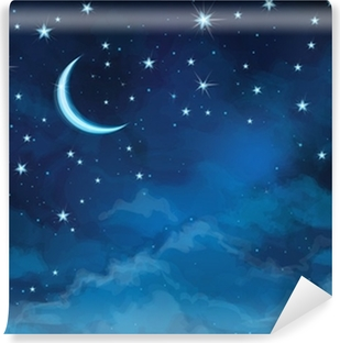 Vector night sky background stars and moon. Vinyl Wall Mural