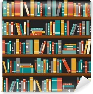 Vector of library book shelf background Vinyl Wall Mural