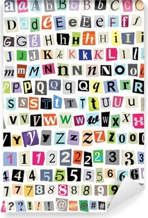 Vector Ransom Note- Cut Paper Letters, Numbers, Symbols Vinyl Wall Mural