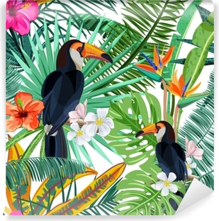 Vector seamless pattern with green tropical palm leaves, hibiscus flowers and bird toucan. Nature background. Summer or spring trendy design elements for fashion textile prints and greeting cards. Vinyl Wall Mural
