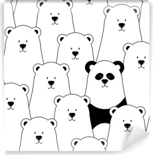 Vector seamless pattern with white polar bears and panda Vinyl Wall Mural