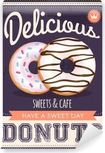 vector vintage styled donuts poster Vinyl Wall Mural