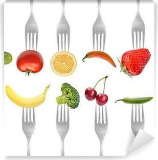 vegetables and fruits on the collection of forks, diet concept Vinyl Wall Mural