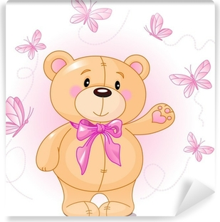 Very cute Teddy Bear waiving hello Vinyl Wall Mural