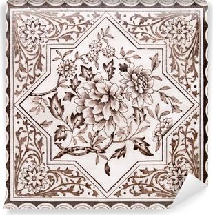 Victorian period decorative arts printed tile in sepia tone Vinyl Wall Mural